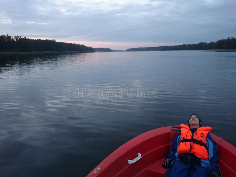 Sen sjö royaltyfria bilder