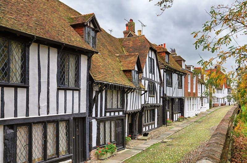Sena medeltida byggnader i råg royaltyfri fotografi