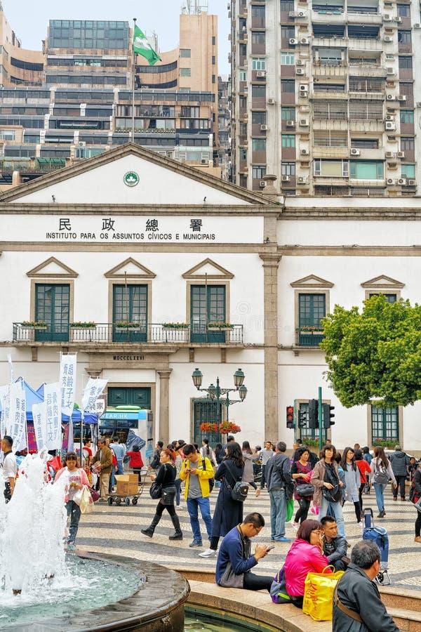 Senado fyrkant i historiskt gammalt centrum av Macao arkivfoto