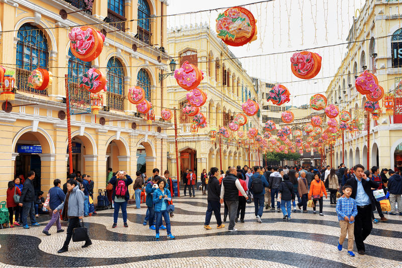 The Senado Square in Macau decorated for the Chinese New Year royalty free stock image