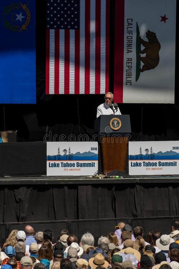 Senador Reid Speaking na 20a cimeira anual de Lake Tahoe fotografia de stock