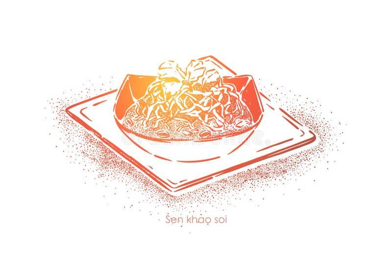 Senador soi do khao, sopa tailandesa nacional com macarronetes de ovo frito e salmoura da couve, jantar gourmet, prato do restaur ilustração do vetor