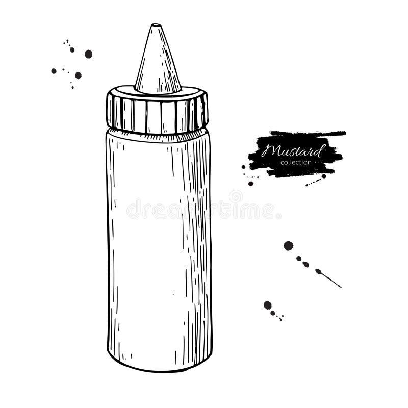Senap-, ketchup- eller majonnässåsflaska bakgrund som tecknar den blom- gräsvektorn foo royaltyfri illustrationer