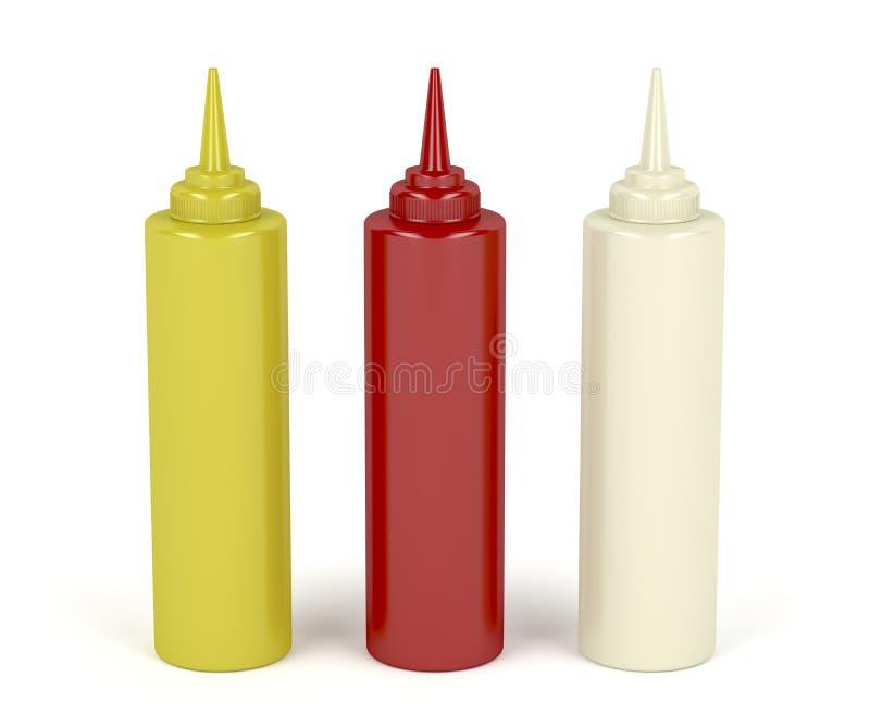 Senap, ketchup och mayonnaise stock illustrationer