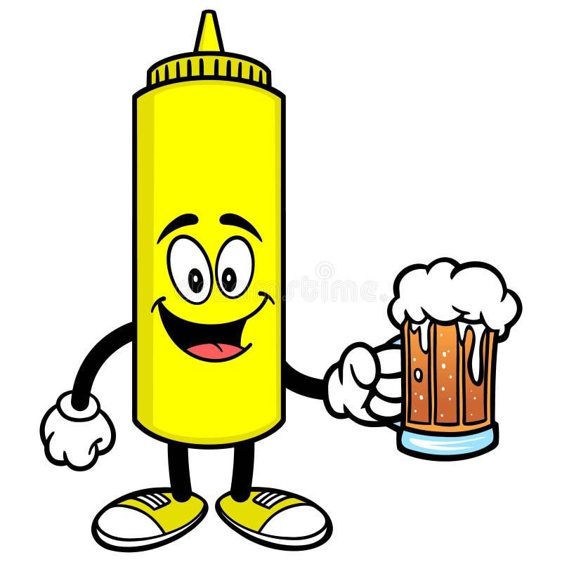 Senap med ett öl vektor illustrationer