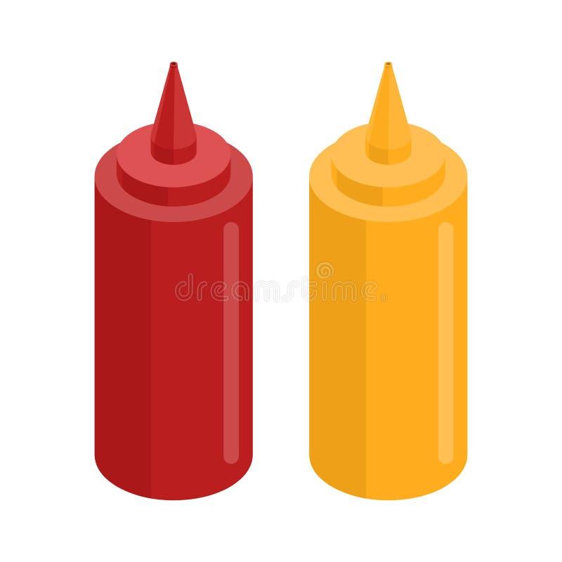 Senap- och ketchupflaska för snabbmat isolerad mat royaltyfri illustrationer