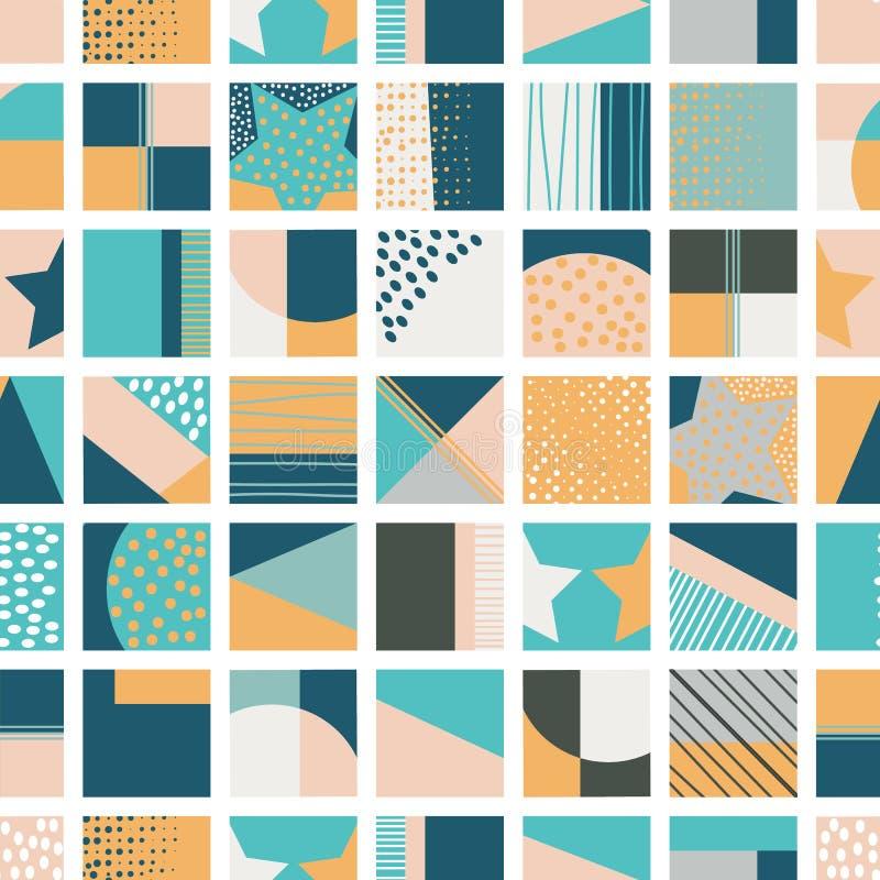 Senape, verde, acqua e modello senza cuciture del quadrato geometrico blu della rappezzatura royalty illustrazione gratis