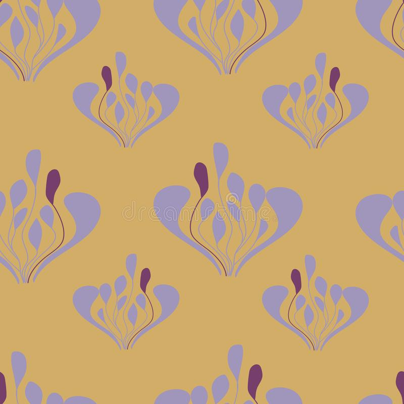 Senapsgult och lavander lämnar seameless repetition royaltyfri illustrationer