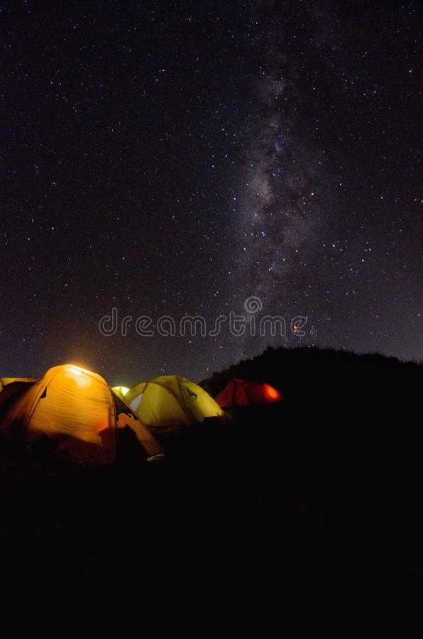 Senaru Base Camp with milkyway view. Mount Rinjani is an active volcano in indonesia. stock photography