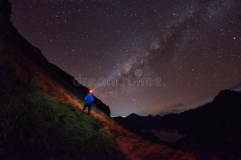 Senaru Base Camp with milkyway view. Mount Rinjani is an active volcano in indonesia. stock photos