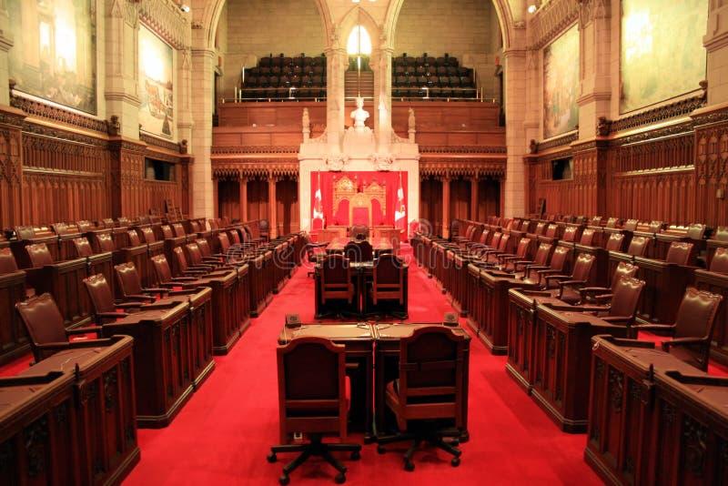 The Senate Chamber, Ottawa. The Canadian Senate Chamber within Parliament in the capital of Ottawa stock photo