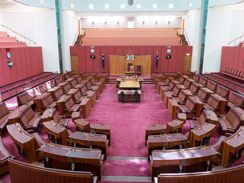 Senate chamber in Parliament of Australia. CANBERRA, AUSTRALIA - FEB 06, 2014: Interior view of Australian Senate in Parliament of Australia, Canberra, Australia stock photography