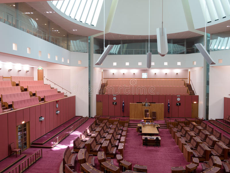 Senate chamber in Parliament of Australia. CANBERRA, AUSTRALIA - FEB 06, 2014: Interior view of Australian Senate in Parliament of Australia, Canberra, Australia stock photo