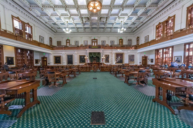 Senate Chamber in Texas State Capitol in Austin, TX. Austin, TX/USA - circa February 2016: Senate Chamber in Texas State Capitol in Austin, TX royalty free stock images
