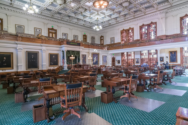 Senate Chamber in Texas State Capitol in Austin, TX. Austin, TX/USA - circa February 2016: Senate Chamber in Texas State Capitol in Austin, TX royalty free stock photography