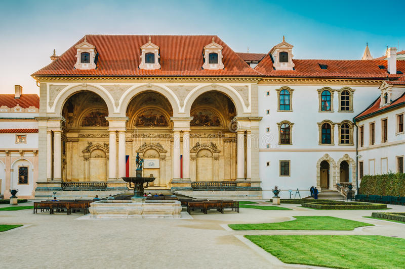 Senate of Czech Republic in Prague. PRAGUE, CZECH REPUBLIC - OCTOBER 9, 2014: Building of Senate of Czech Republic in Prague in the Wallenstein Garden stock photography