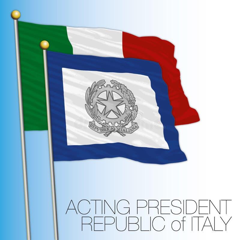Senate flag, Italy, acting president. Vector file, illustration vector illustration