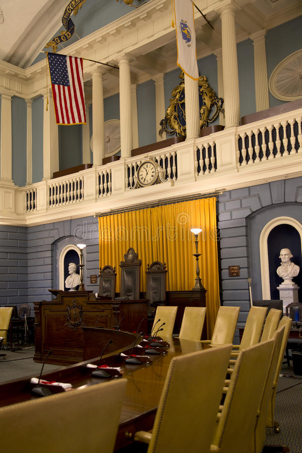 Senate meeting room in the historic Mass State House. City Boston USA royalty free stock photography