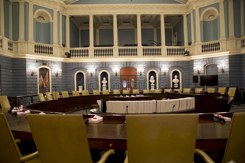 Senate meeting room in the Mass State House. Senate meeting room in the historic Mass State House, city Boston USA stock photography