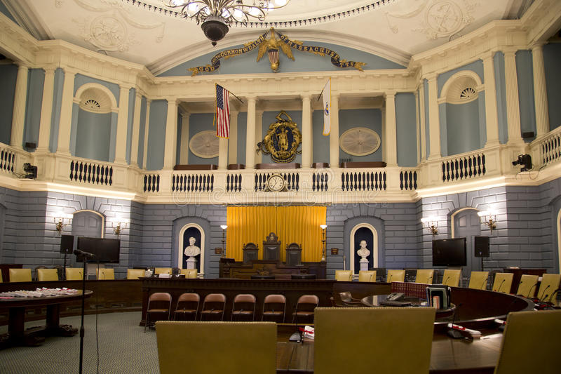 Senate meeting room in the Mass State House inside. Senate meeting room in the historic Mass State House, city Boston USA stock photo