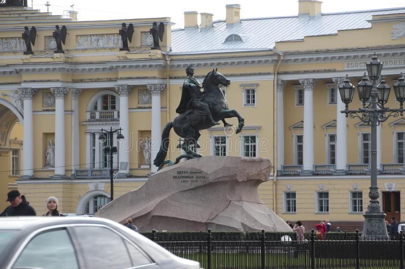 Senate Square - St. Isaac`s Cathedral and Bronze Horseman. Saint Petersburg . Russia stock image