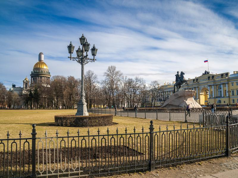 Senate Square with St. Isaac`s Cathedral and the monument to Pet. View of the Senate Square with a monument to Peter I and St. Isaac`s Cathedral in the center of royalty free stock photos
