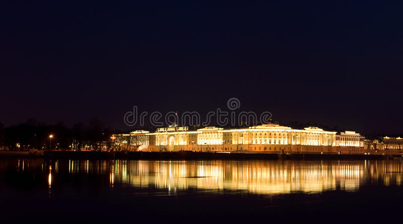 Senate and Synod at night. Saint Petersburg. Senate and Synod building at night stock image