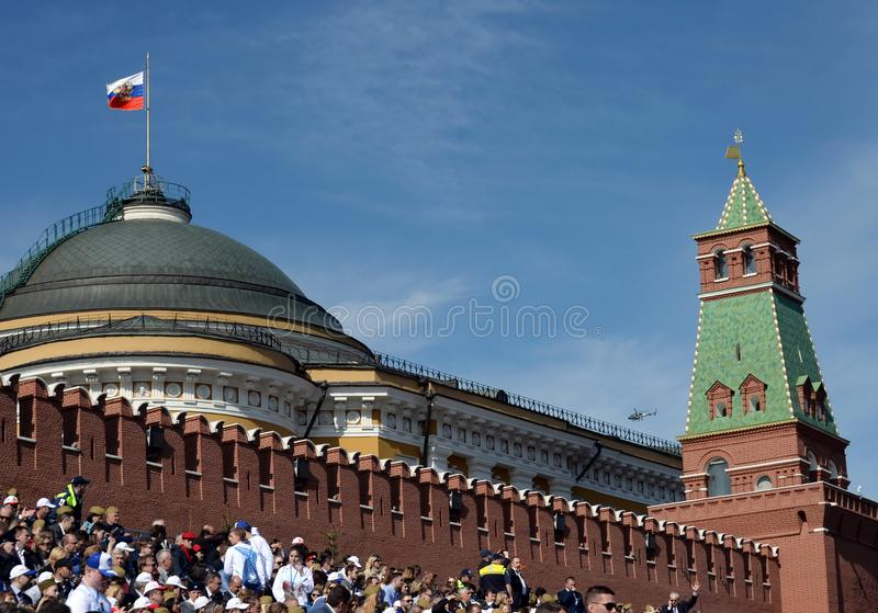 The Senate Tower of the Moscow Kremlin and the dome of the Senate building. Fragment. MOSCOW, RUSSIA MAY 9, 2018: The Senate Tower of the Moscow Kremlin and the stock photo