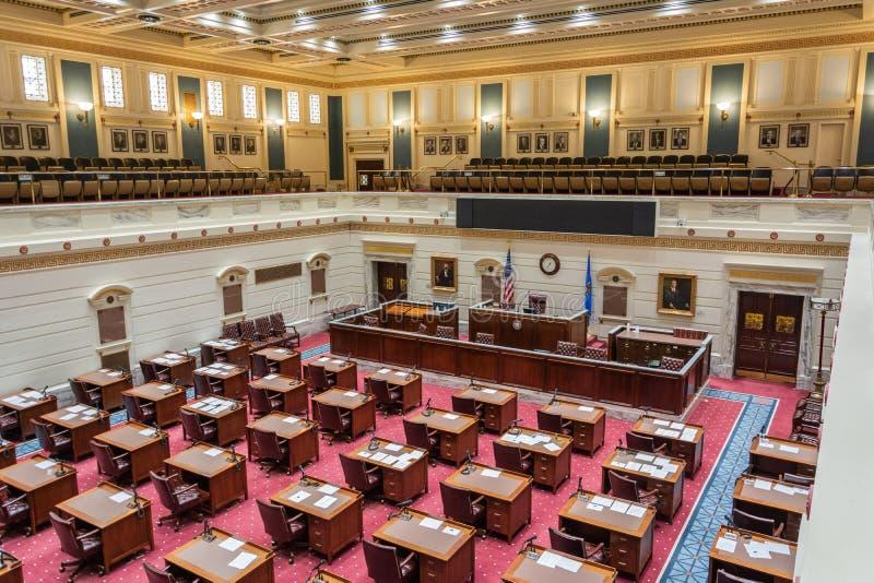 Senatkammare av tillståndsKapitolium av Oklahoma i Oklahoma City som är reko royaltyfri fotografi