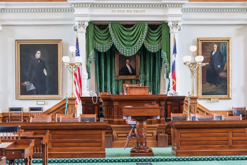 Senatkammare i Texas State Capitol i Austin, TX arkivfoton