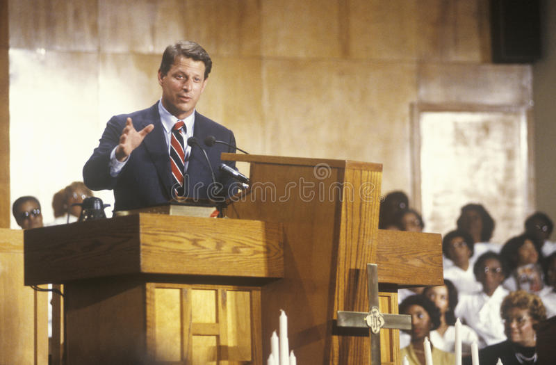 Senator Al Gore. At the Olivet Baptist Church in Cleveland, Ohio during the Clinton/Gore 1992 Buscapade Great Lakes campaign tour royalty free stock images