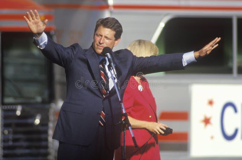 Senator Al Gore on the Clinton/Gore 1992 Buscapade campaign tour in Cleveland, Ohio stock photo