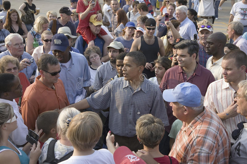 Senator Barak Obama campaigning for President. U.S. Senator Barak Obama campaigning for President at Iowa State Fair in Des Moines Iowa, August 16, 2007 royalty free stock photos