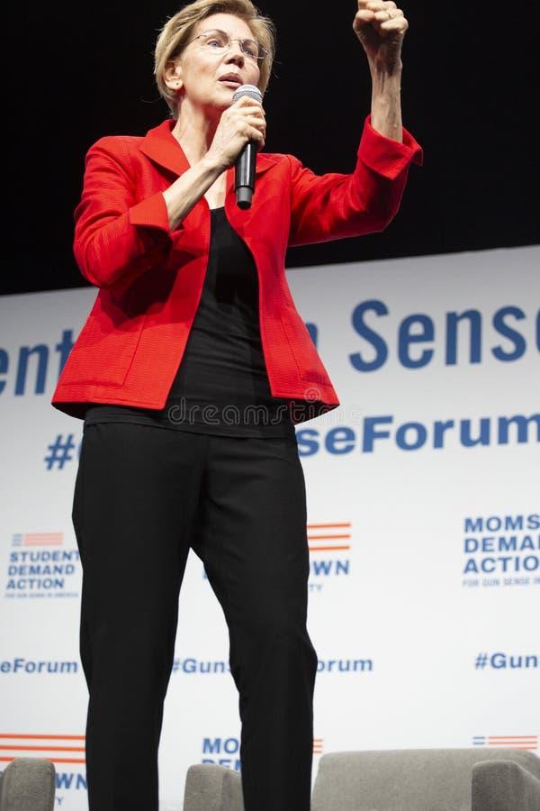 Senator Elizabeth Warren, Sierpień 10, 2019 zdjęcie royalty free