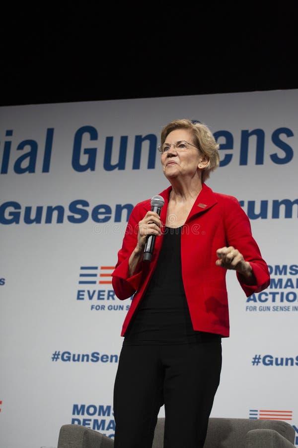 Senator Elizabeth Warren, Sierpień 10, 2019 obrazy royalty free