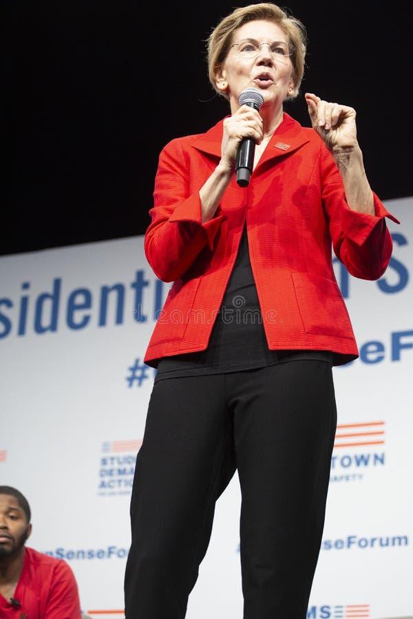 Senator Elizabeth Warren, Sierpień 10, 2019 obraz stock