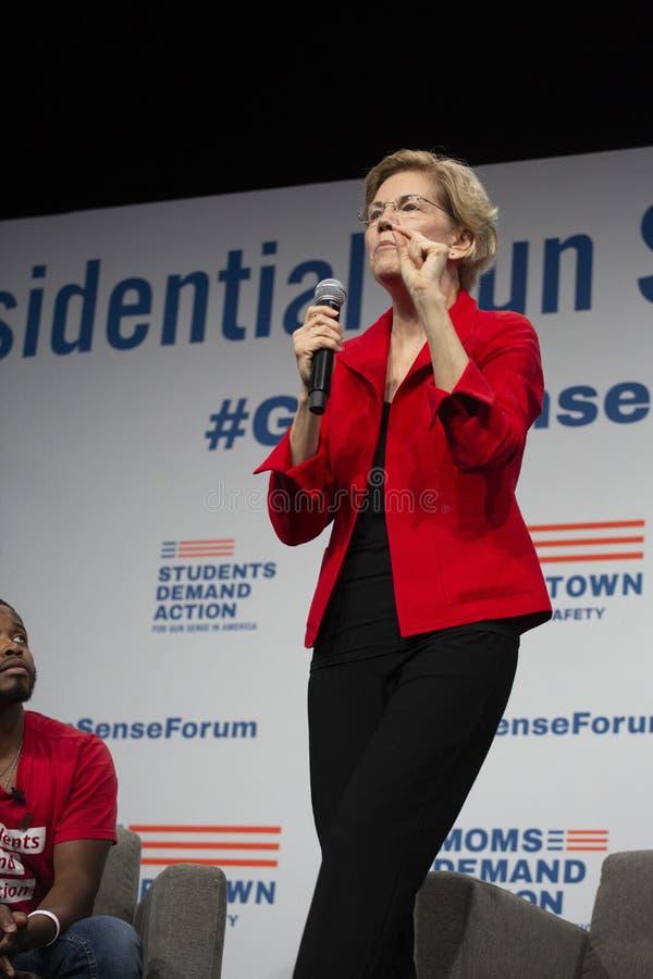 Senator Elizabeth Warren, Sierpień 10, 2019 obraz royalty free