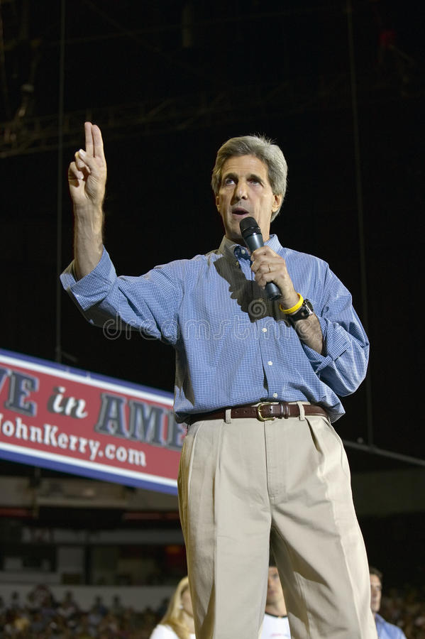 Senator John Kerry. Addresses audience of supporters at the Thomas Mack Center at UNLV, Las Vegas, NV stock image