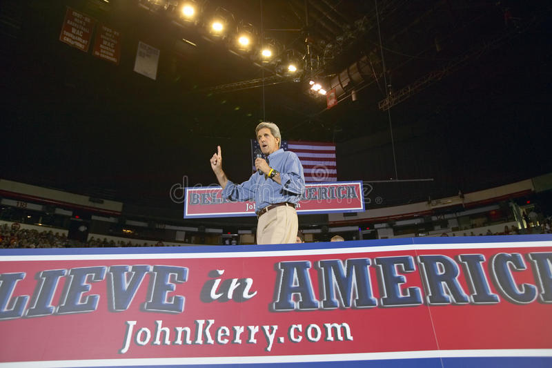 Senator John Kerry addresses audience of supporters at the Thomas Mack Center at UNLV, Las Vegas, NV royalty free stock photos