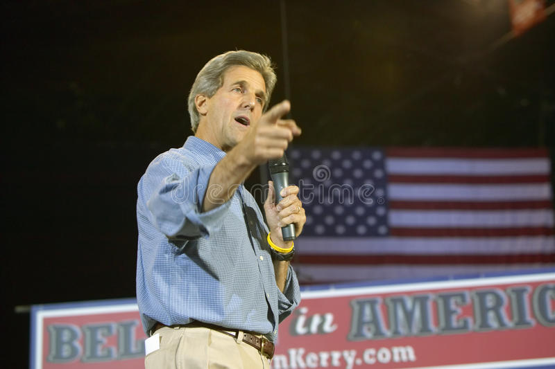 Senator John Kerry addresses audience of supporters at the Thomas Mack Center at UNLV, Las Vegas, NV stock photo