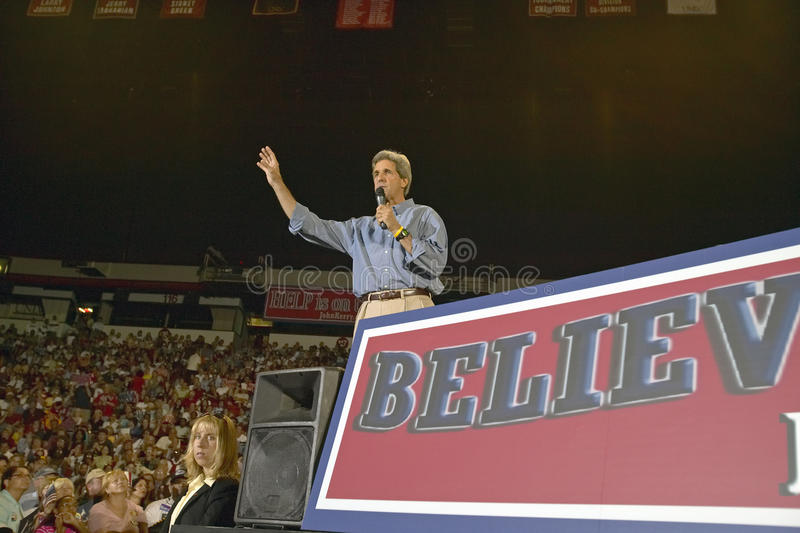 Senator John Kerry addresses audience of supporters at the Thomas Mack Center at UNLV, Las Vegas, NV royalty free stock images