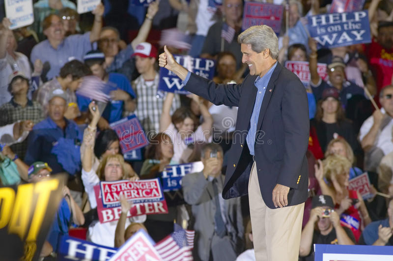 Senator John Kerry gives thumbs up to audience of supporters at the Thomas Mack Center at UNLV, Las Vegas, NV stock photography