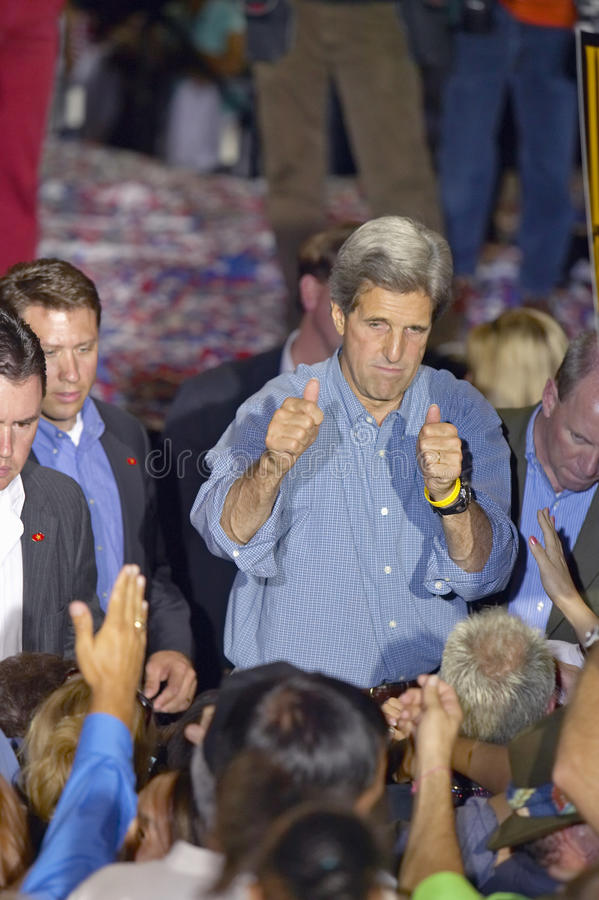Senator John Kerry interacts with supporters at the Thomas Mack Center at UNLV, Las Vegas, NV stock photography