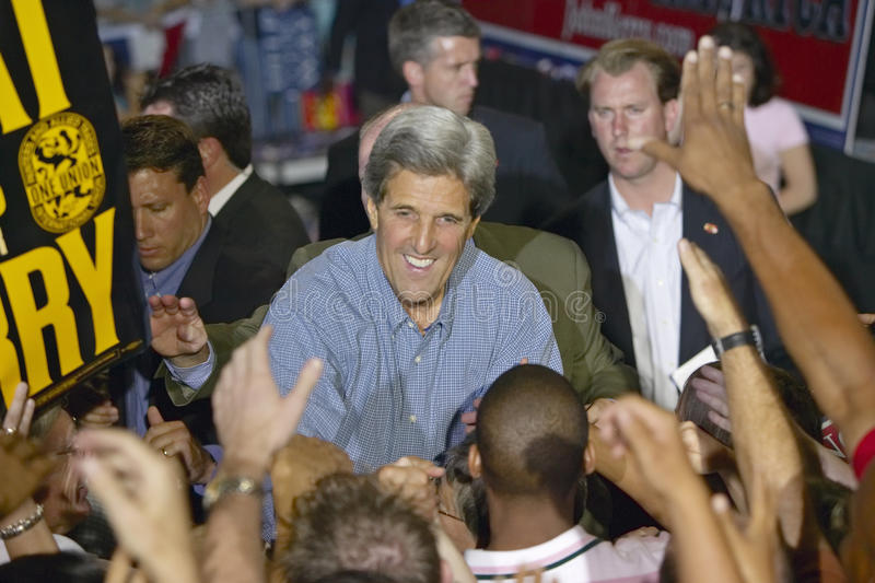 Senator John Kerry shakes hands with supporters at the Thomas Mack Center at UNLV, Las Vegas, NV royalty free stock image