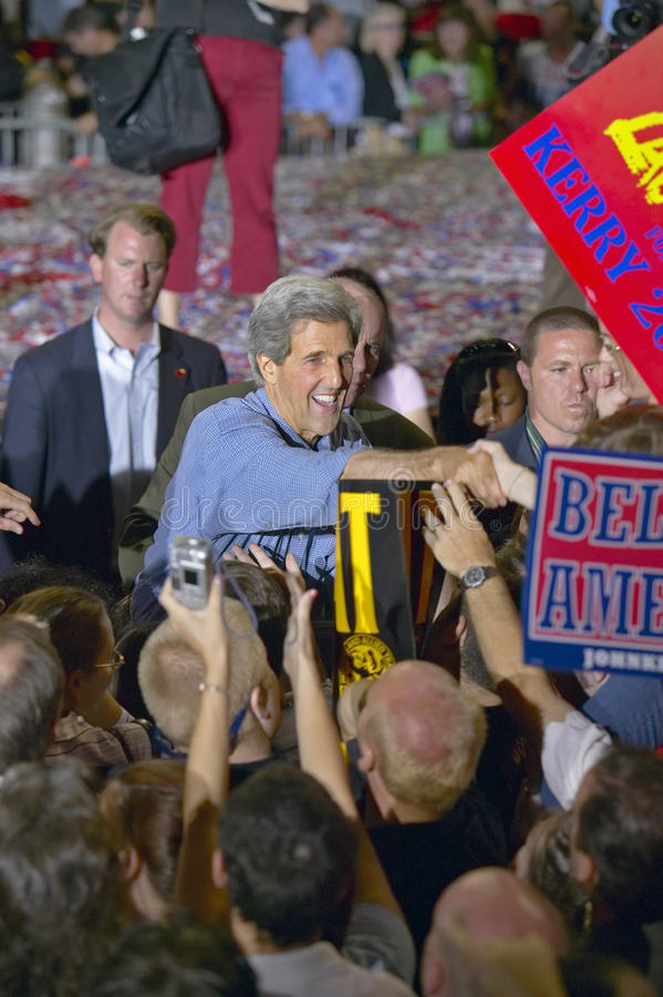 Senator John Kerry shakes hands with supporters at the Thomas Mack Center at UNLV, Las Vegas, NV stock photos