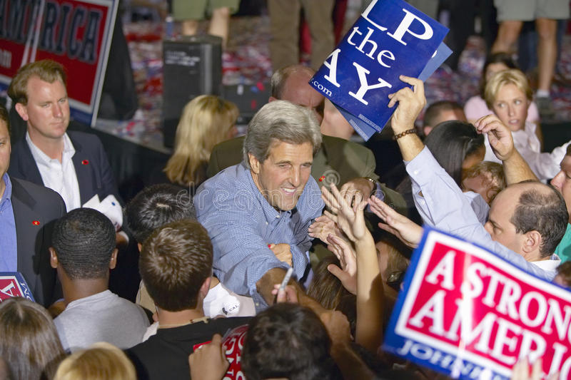 Senator John Kerry shakes hands with supporters at the Thomas Mack Center at UNLV, Las Vegas, NV royalty free stock photography