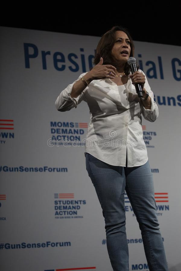 Senator Kamala Harris speaks at the Gun Safety Forum, August 8, 2019 royalty free stock images