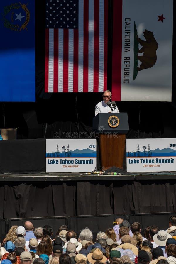 Senator Reid Speaking at 20th Annual Lake Tahoe Summit. Senator Harry Reid speaks at the 20th Annual Lake Tahoe Summit at Harvey's Lake Tahoe Outdoor Arena stock photography