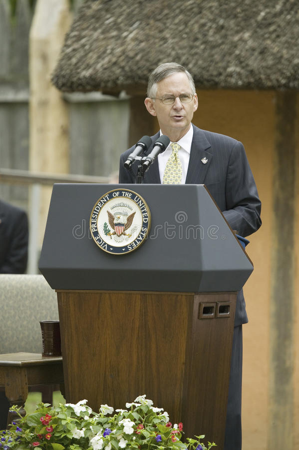 Senator Tommy Norment. Speaking during ceremony at James Fort, Jamestown Settlement, Virginia on May 4, 2007, the 400th Anniversary of English establishment of stock images