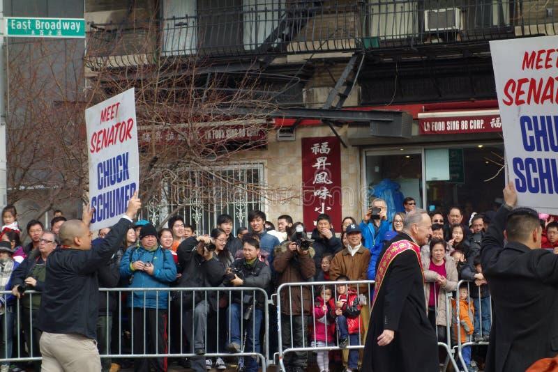 Senatora chuck Schumer @ 2014 Chińskich nowy rok świętowań W NYC zdjęcia stock